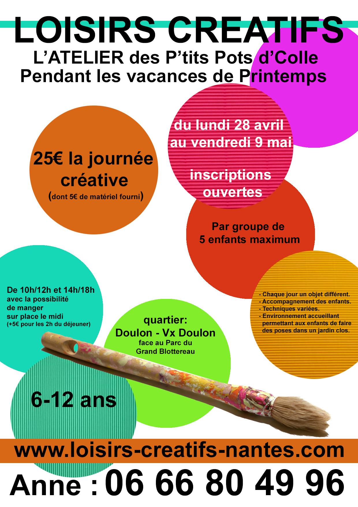 Les P'tits Pots d'colle-Nantes-Atelier loisirs créatifs-inscriptions vacances de printemps 2014