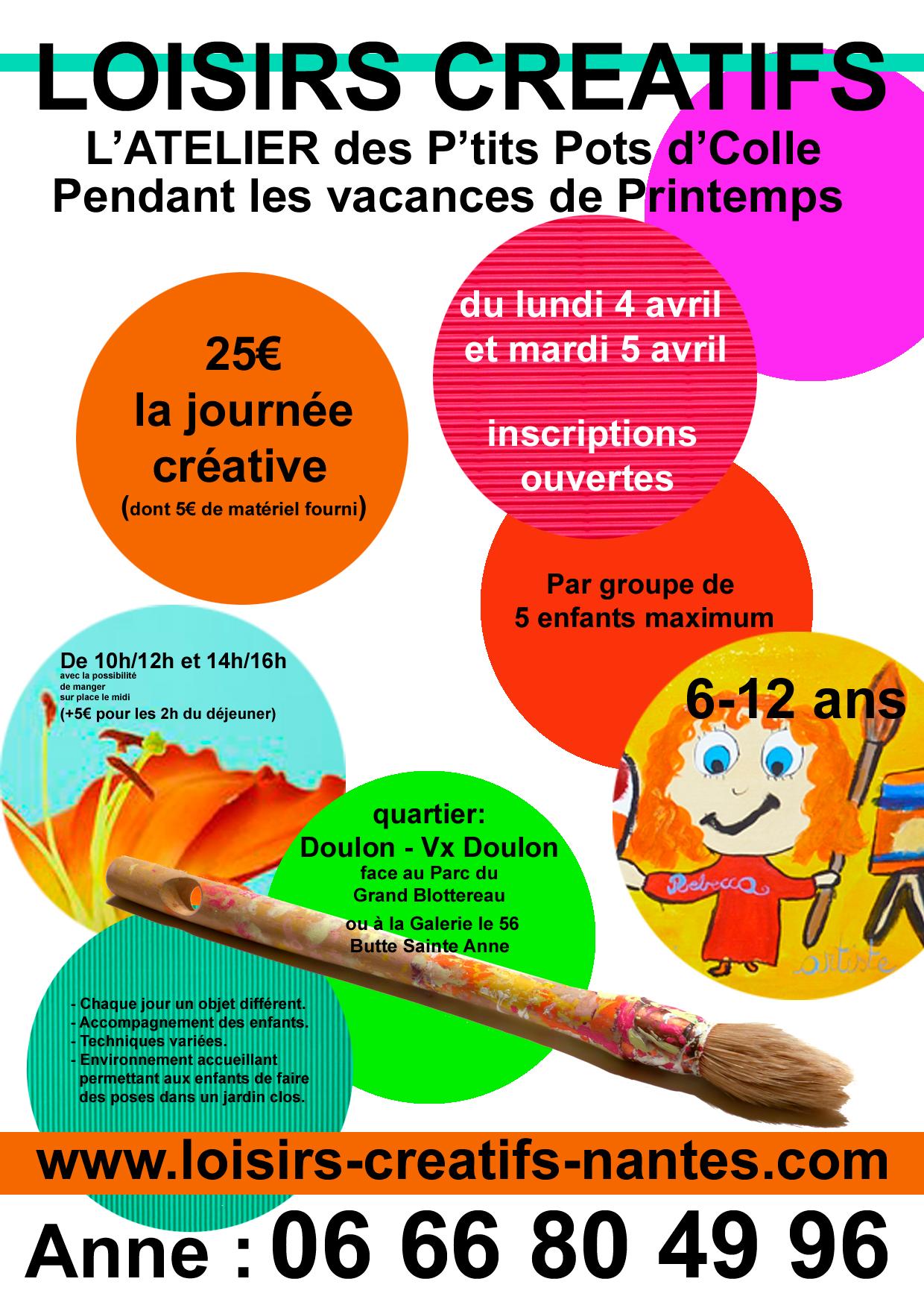 LOISIRS CREATIFS-NANTES-Anne HERVY-Atelier des p'tits pots d'colle